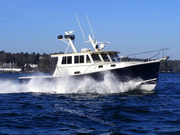 "The 43'x15'6"" sportfisherman Italian Stallion is the first Flowers 43 to hit the water from Flower's Boatworks in Walpole, ME. (2014)"