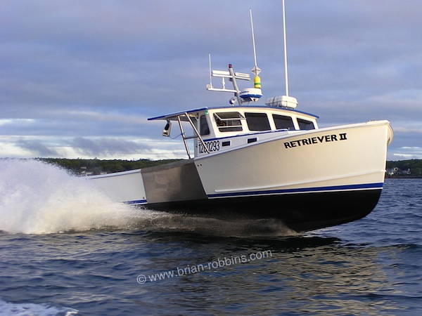 Retriever II is a Calvin Beal 38 owned by lobsterman Mark Moody Jr. of New Harbor, ME. Retriever II's hull and top were built by SW Boatworks of Lamoine; the 38-footer was finished by Simmons Boatworks of Friendship. (2015)
