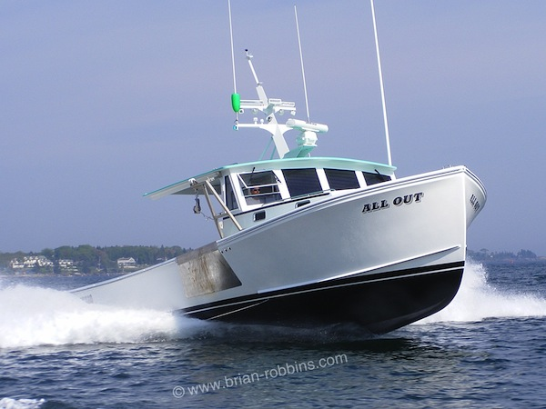 SW Boatworks in Lamoine, ME built the 38' All Out for Boothbay Harbor lobsterman Nick Page. All Out is a 38' Calvin Beal. (2015)