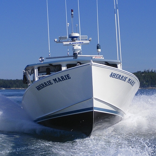 Sherrie Marie, a Sargent 42 custom finished by Eaton's Boat Shop of Deer Isle, ME for local lobsterman Bill Smith. Sargent's Custom Boats of Milbridge began the process by laying up and lengthening a South Shore 38 hull. (2015)
