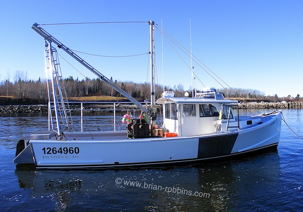 "Alison Jo is an Osmond 40 built for lobstering and scallop dragging.  H&H Marine in Steuben, ME built the 40'x14'10"" hull and top; owner Alton Wallace and his then-7-year-old son Carlton did the finish work at their home in Milbridge, ME.  (2015)"