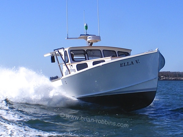Ella V is a Mitchell Cove 35 owned by Pemaquid, ME lobsterman Jamien Hallowell.  Journey's End Marina in Rockland built Ella V's hull; John Brackett (John's Marine Care) in New Harbor took it from there, including a custom wheelhouse.  (2016)