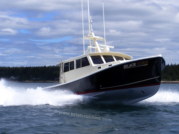 "Sargent's Custom Boats of Milbridge, ME built the 38' tuna boat Black Gold for Shawn Howard of Cape Jellison.  Black Gold is a Calvin Beal Jr.-designed South Shore, measuring in at 38'x14'4"".  (2016)"