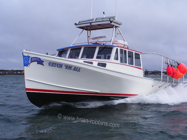"Catch 'Em All is a Wayne Beal 46 finished by Taylored Custom Boats in Addison, ME for Beals Island lobsterman Nathan Barrett.  The 46'x17'10"" hull is the largest model offered by Wayne Beal's Boat Shop in Jonesport.  (2016)"