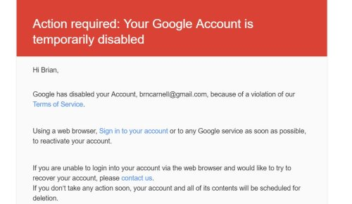 Your Google Account is Temporarily Disabled