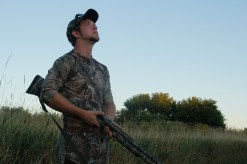Hunting Club co-founder Andrew Weber readies his firearm while dove hunting with fellow co-founder Jason Dykstra, not pictured.