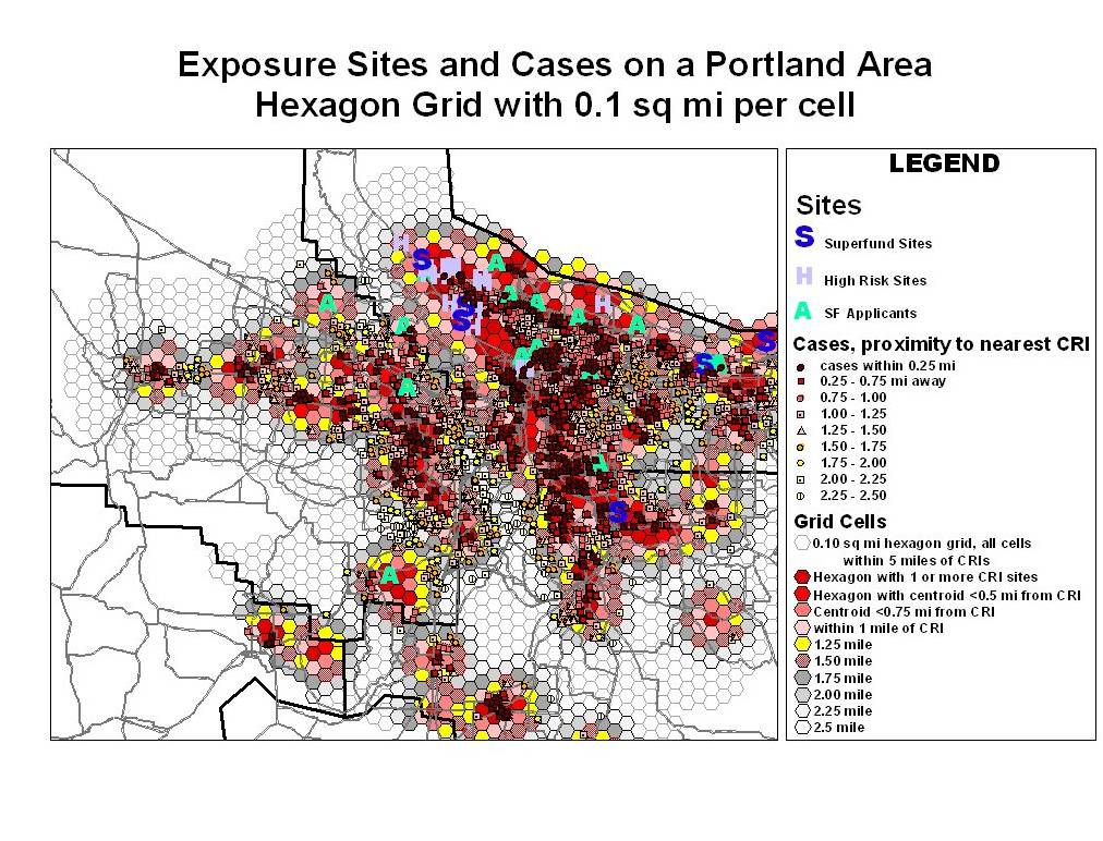 Cases (deep red) in relation to chemical release site density