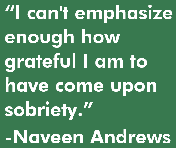 I can't emphasize enough how grateful I am to have come upon sobriety. Quote by Naveen Andrews
