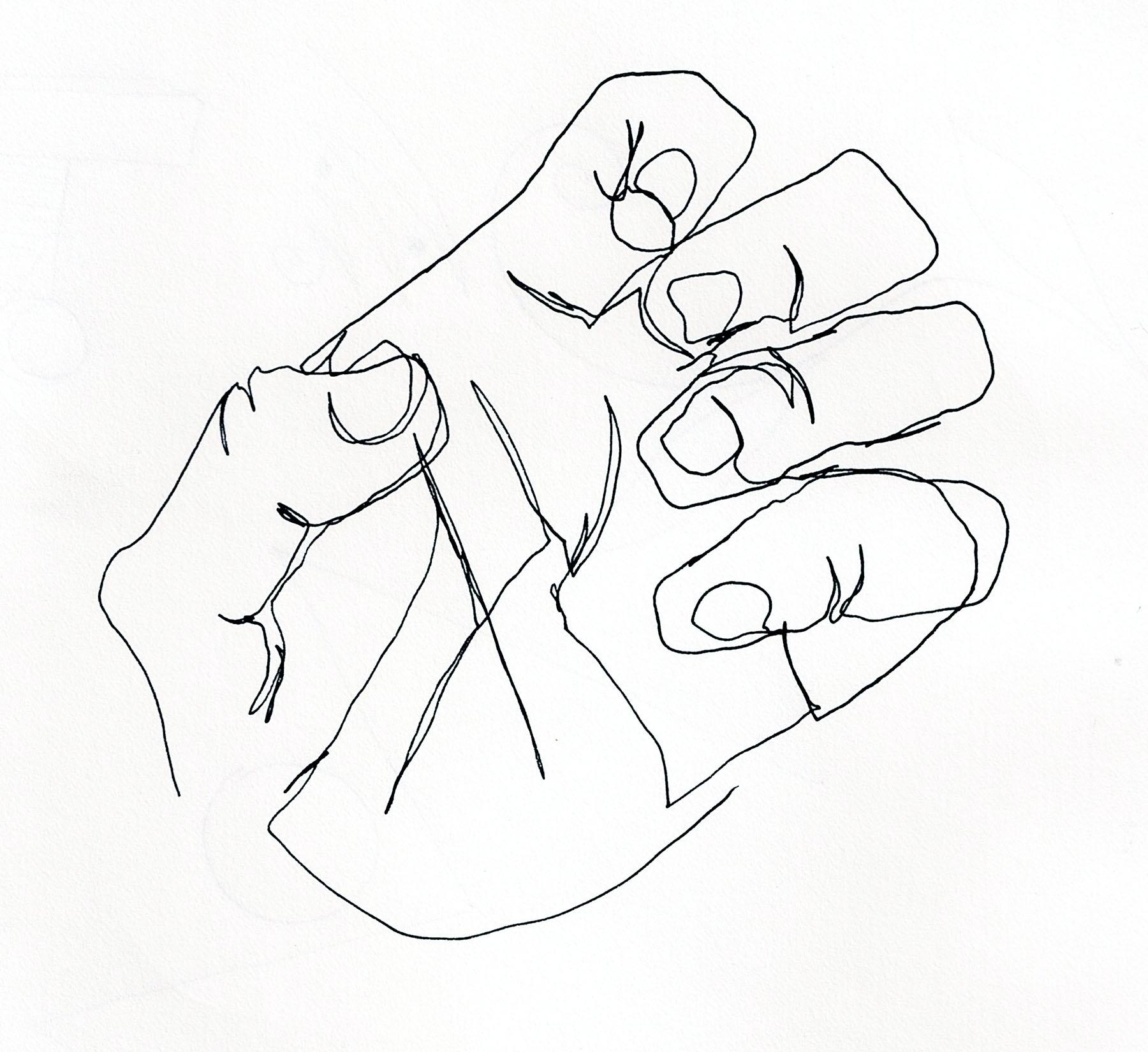 Contour Line Drawing Hand Brian Cho