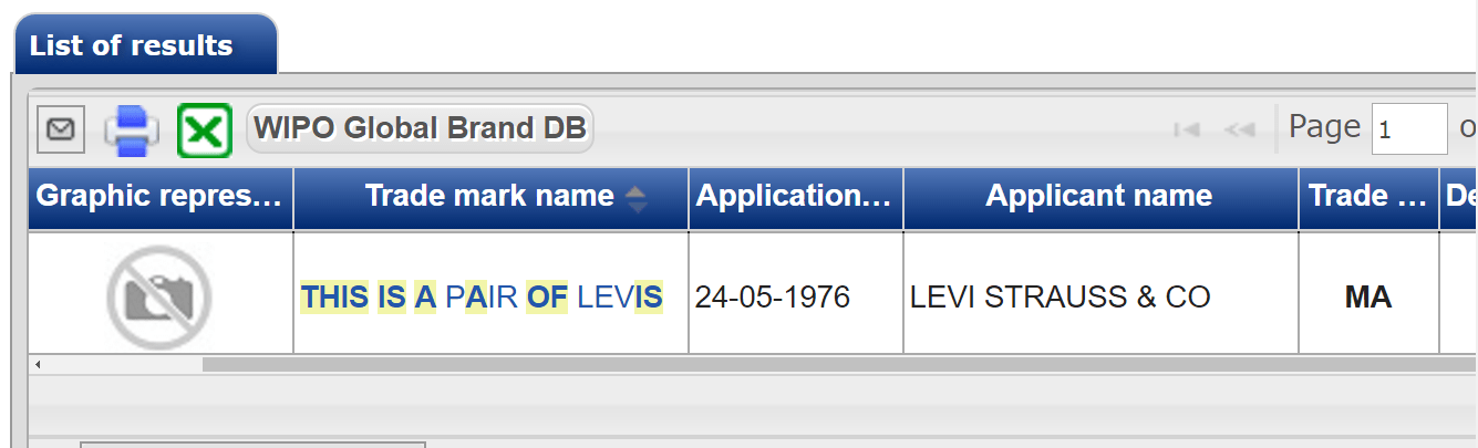 this is a pair of levis trademark application 1976