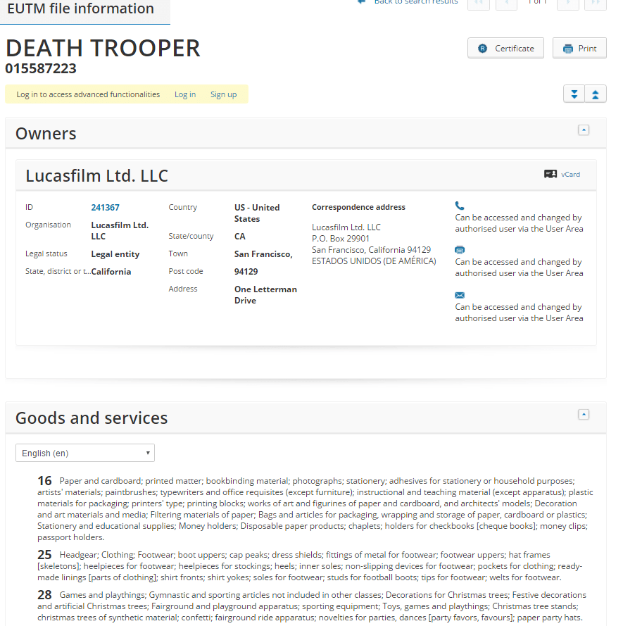 death trooper trademark application