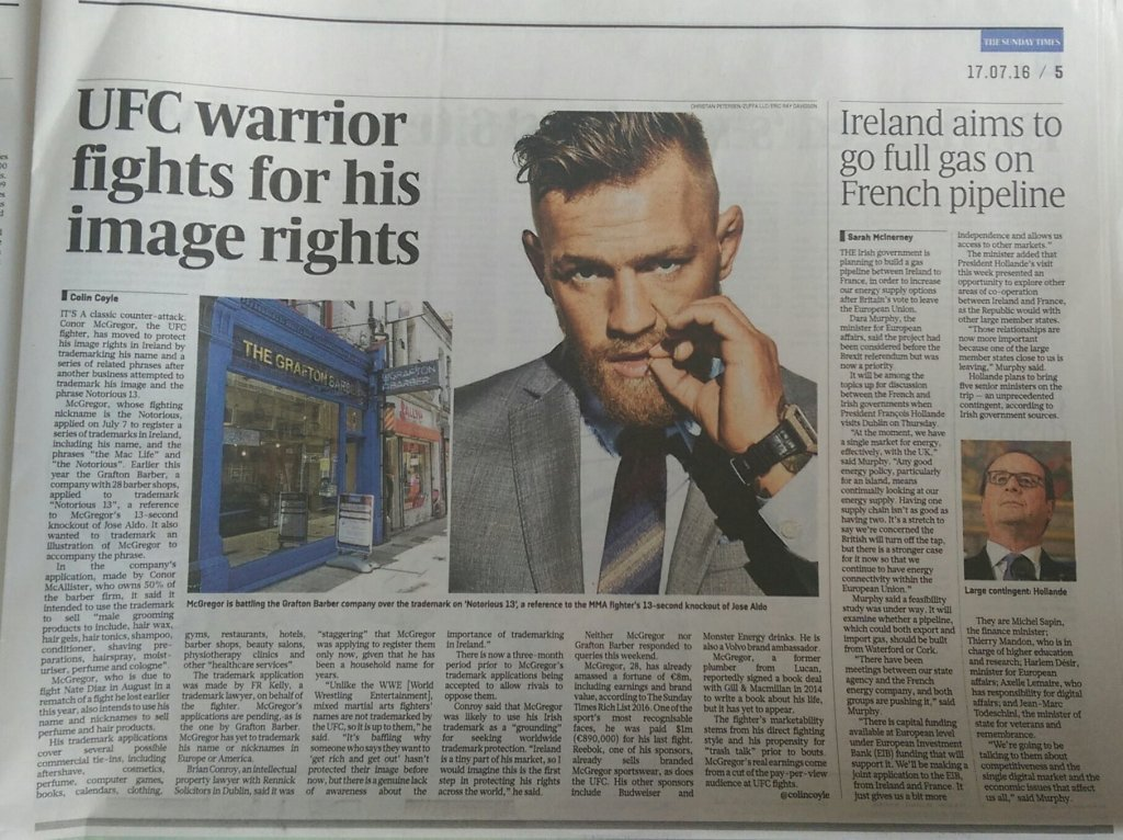 McGregor Trademark – Sunday Times Article Quoted Me