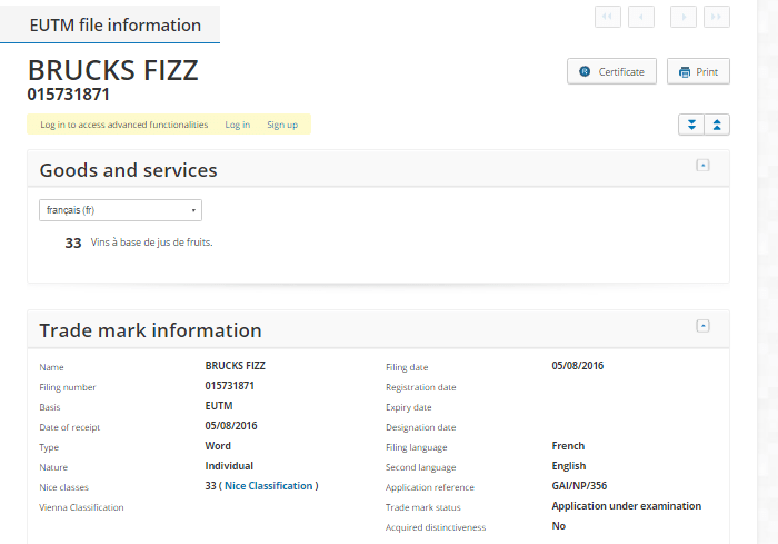 Brucks Fizz Trademark Application