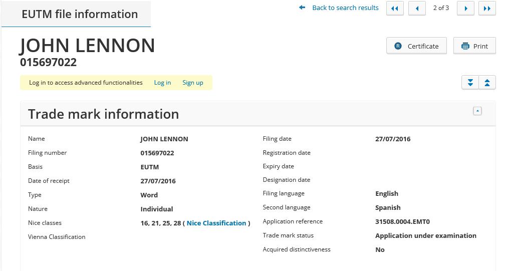 John Lennon Trademarks