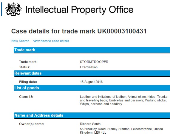 uk trademark stormtrooper
