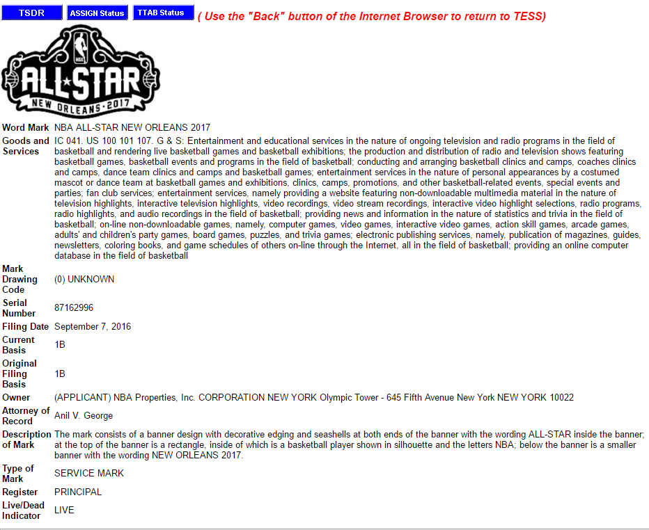 NBA All Star 2017 trademark details