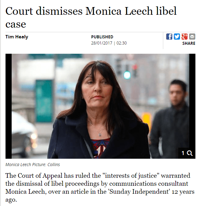 Court Of Appeal In Ireland Dismisses Monica Leech Case #Libel #MonicaLeech #Leech #Defamation