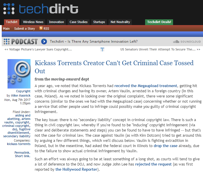 Kickass Torrents Creator Tries To Get Criminal Case Thrown Out. Fails.