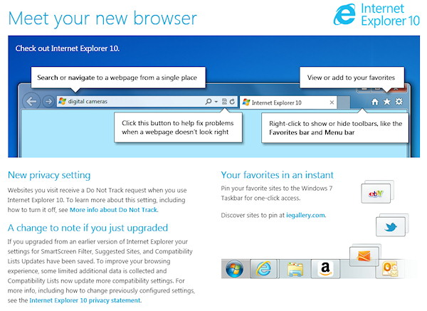 Internet Explorer 10 New Features