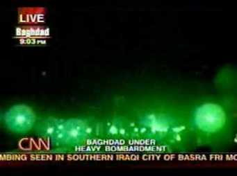 Live TV coverage of the invasion of Iraq in 2003. Source: Youtube