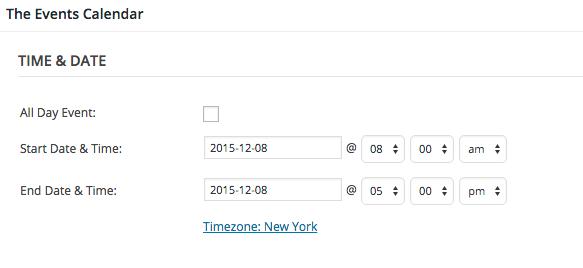 events calendar wordpress date