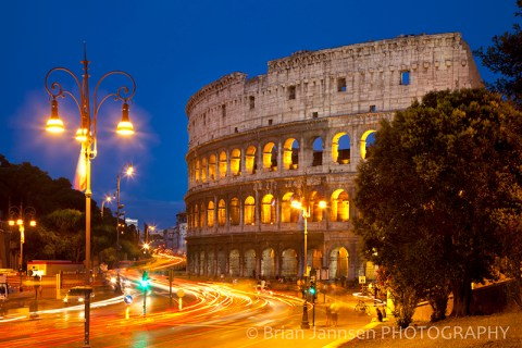 Roman Coliseum Twilight Light-Trails Italy