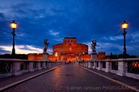 Castel Ponte Sant Angelo Castle Bridge Rome Italy