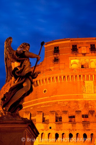 Castel Castle Sant Angelo Angel Rome Italy Twilight