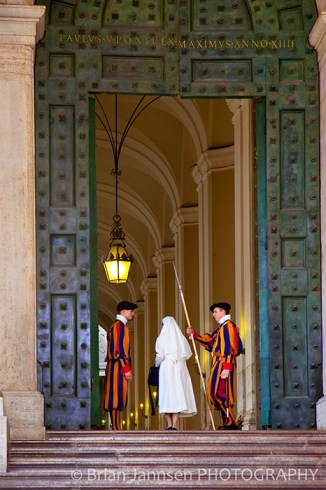 St Peters Cathedral Vatican Nun Swiss Guards Rome Italy