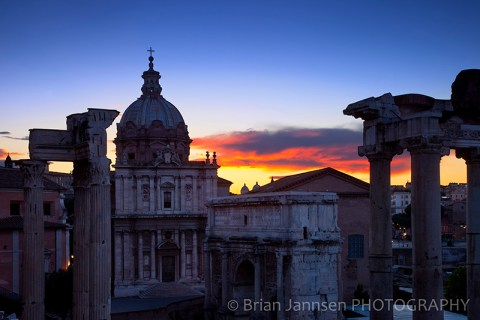 Dawn Roman Forum Ruins Rome Italy