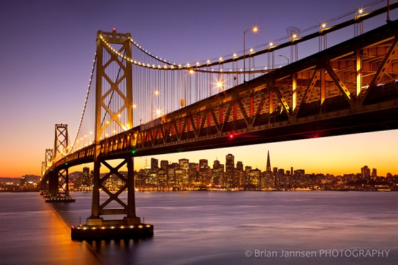 Bay Bridge San Francisco California skyline twilight dusk