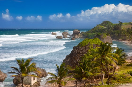 Rocky coastline along the eastern shore of Barbados at Bathsheba