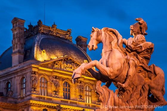 Equestrian statue King Louis XIV Musee du Louvre Paris France