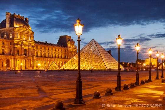 Palais du Louvre twilight Paris France