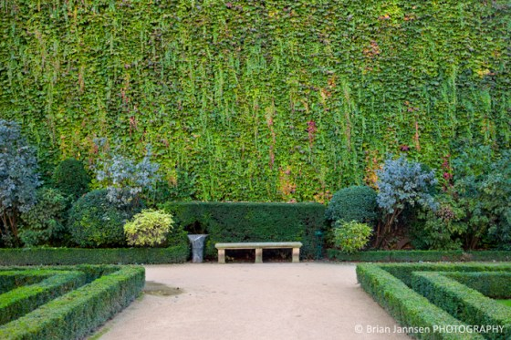 Park bench along ivy covered wall in the garden of Hotel de Sully, les Marais, Paris France