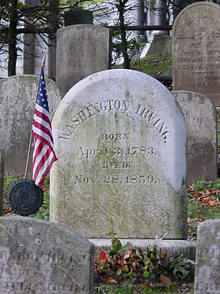 Washington Irving's grave, in Sleepy Hollow Cemetery.