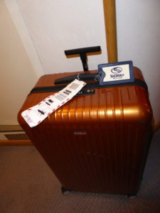 suitcase with luggage tags