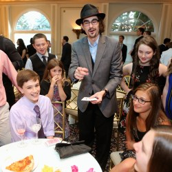 Connecticut magician Brian Miller strolling magic bar mitzvah