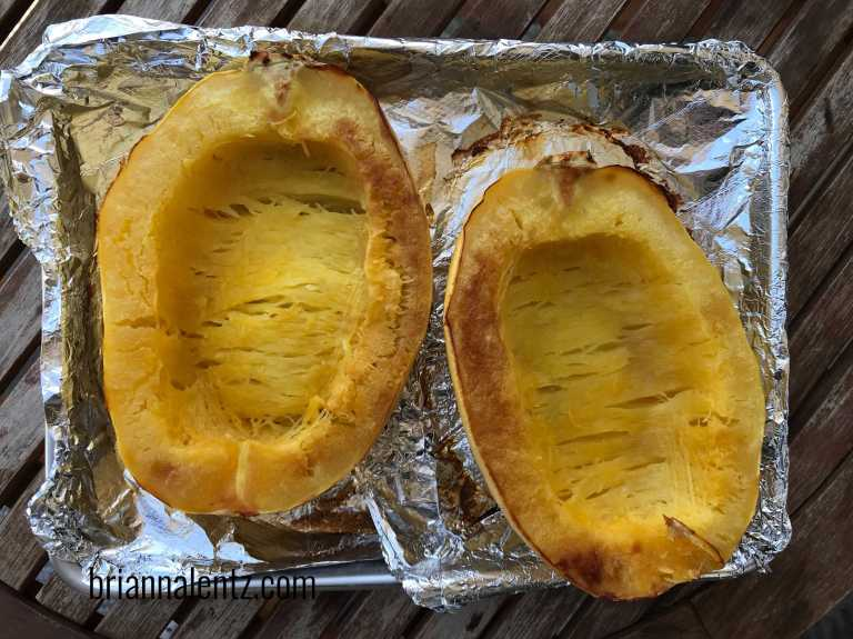 Roasted Spaghetti Squash Out of the Oven