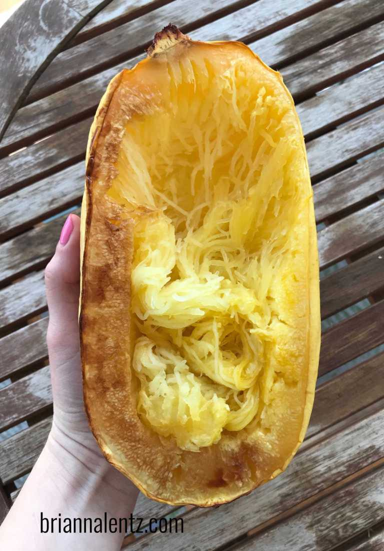 Shredding the Roasted Spaghetti Squash