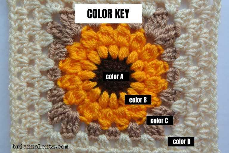 Crochet Sunflower Granny Square Color Key