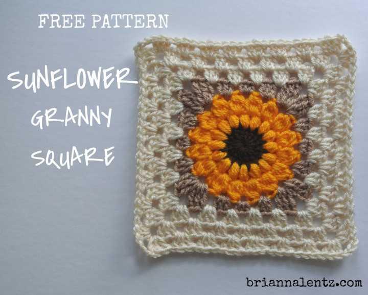 Free Crochet Sunflower Granny Square Pattern