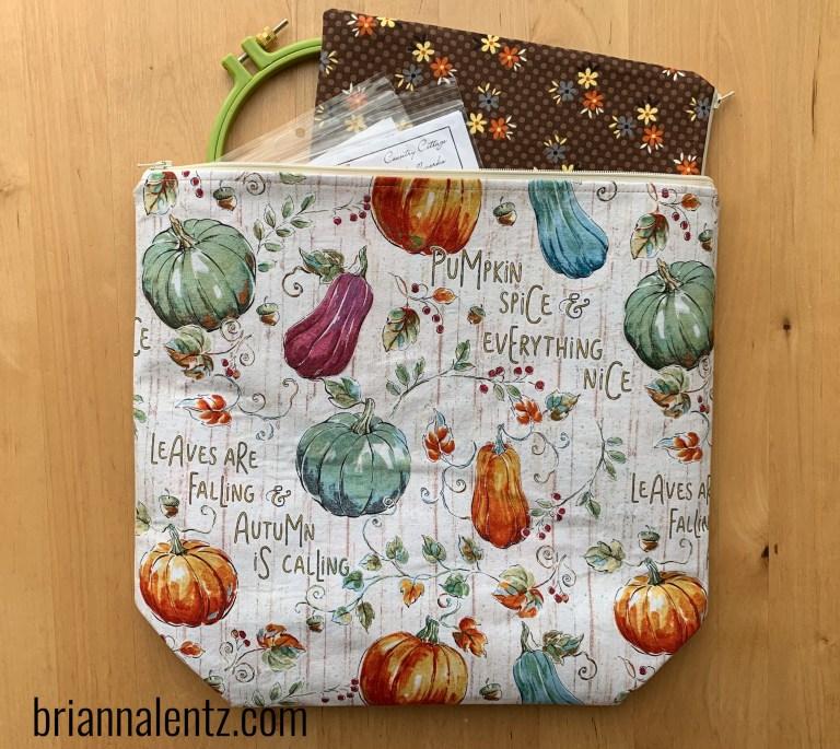 14 inch Pumpkin Spice Zipper Project Bag