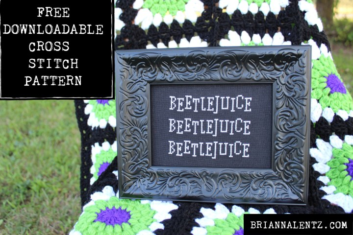 Free Cross Stitch Pattern Inspired by Tim Burton's Beetlejuice