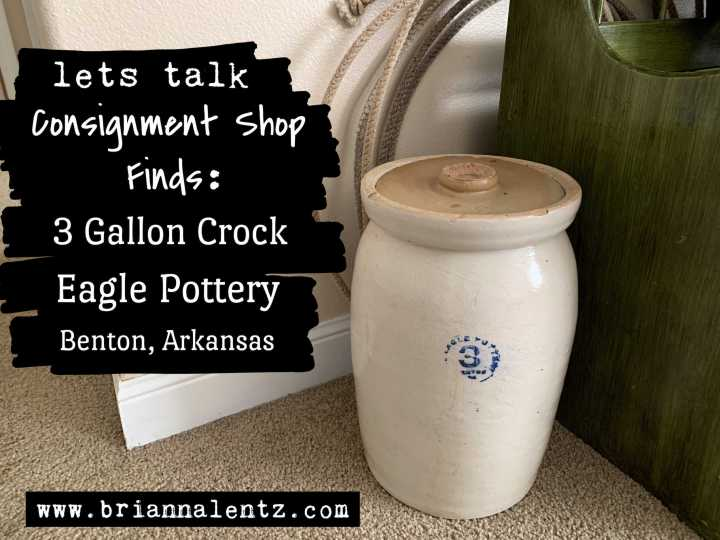 3 Gallon Crock by Eagle Pottery in Benton Arkansas – Consignment Shop Finds in Oklahoma