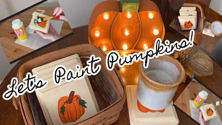 Fall and Autumnal Hand Painted Pumpkins on Wood Coasters with Free Pumpkin Design Printable PDF Download and YouTube Tutorial