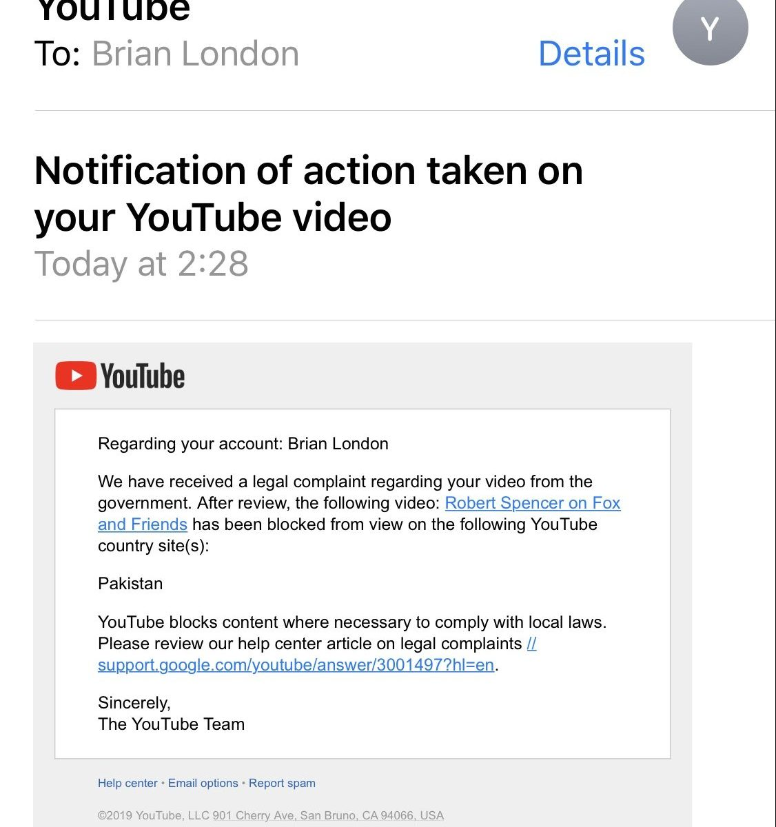 Banned in Pakistan email from YouTube