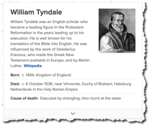 William Tyndale: strangled then burnt at the stake for publishing a translation of the Bible.