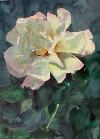 Rose, 30x22, Watercolor on paper - Sold