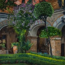 Jardín de Bugumbilias, 30x20, Oli on linen - $1,800